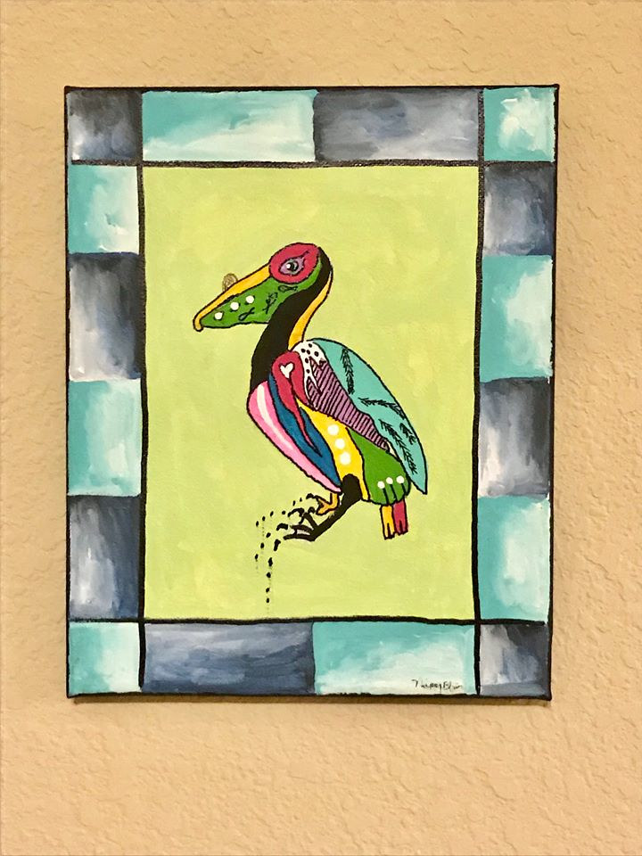 Acrylic painting canvas pelican by Nippy Blair