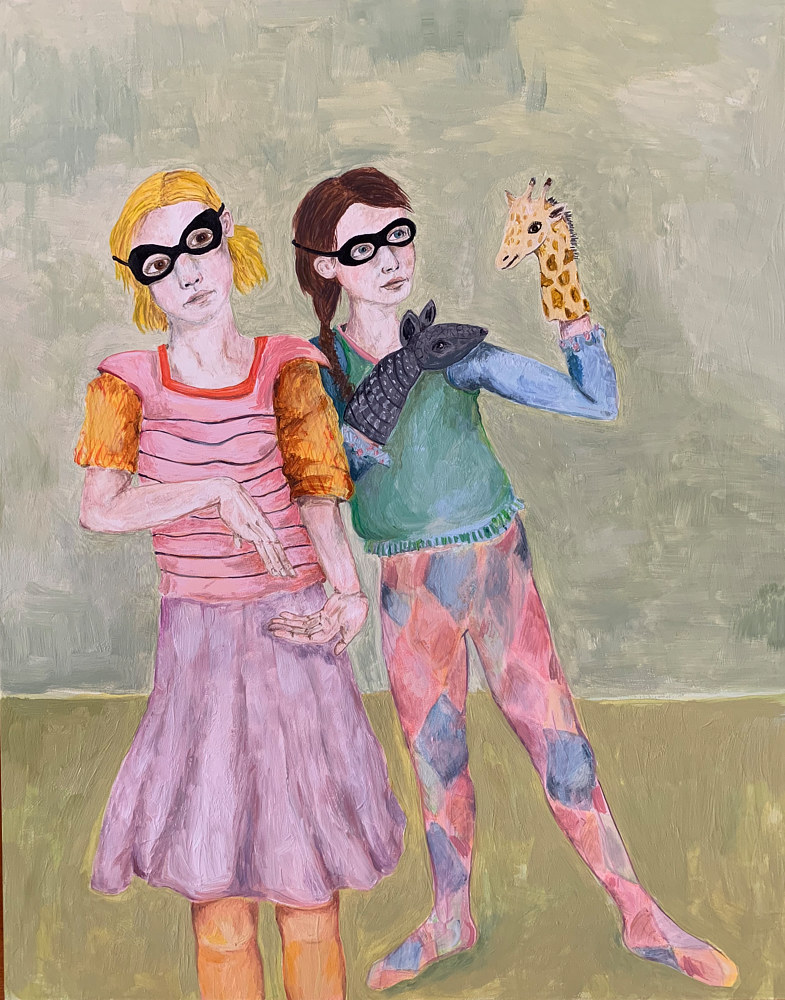Oil painting Girls With Puppets by Katherine Bennett