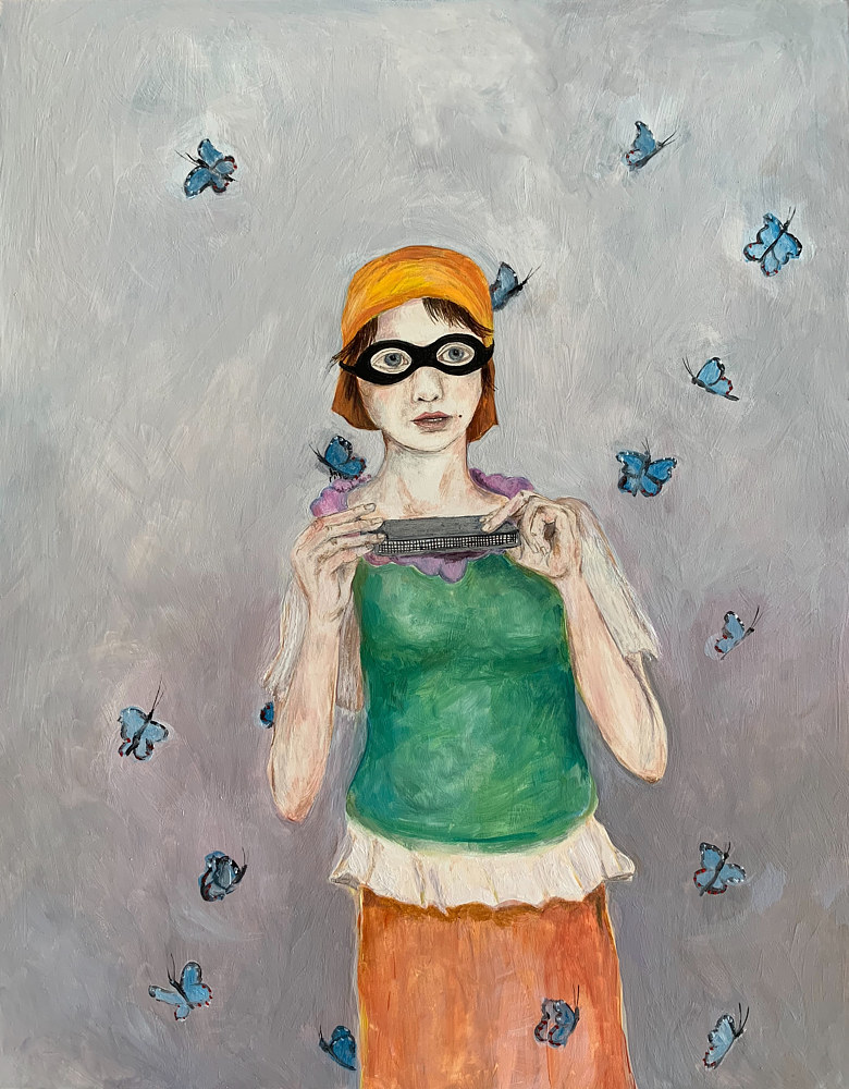 Oil painting A Girl with a Harmonica by Katherine Bennett