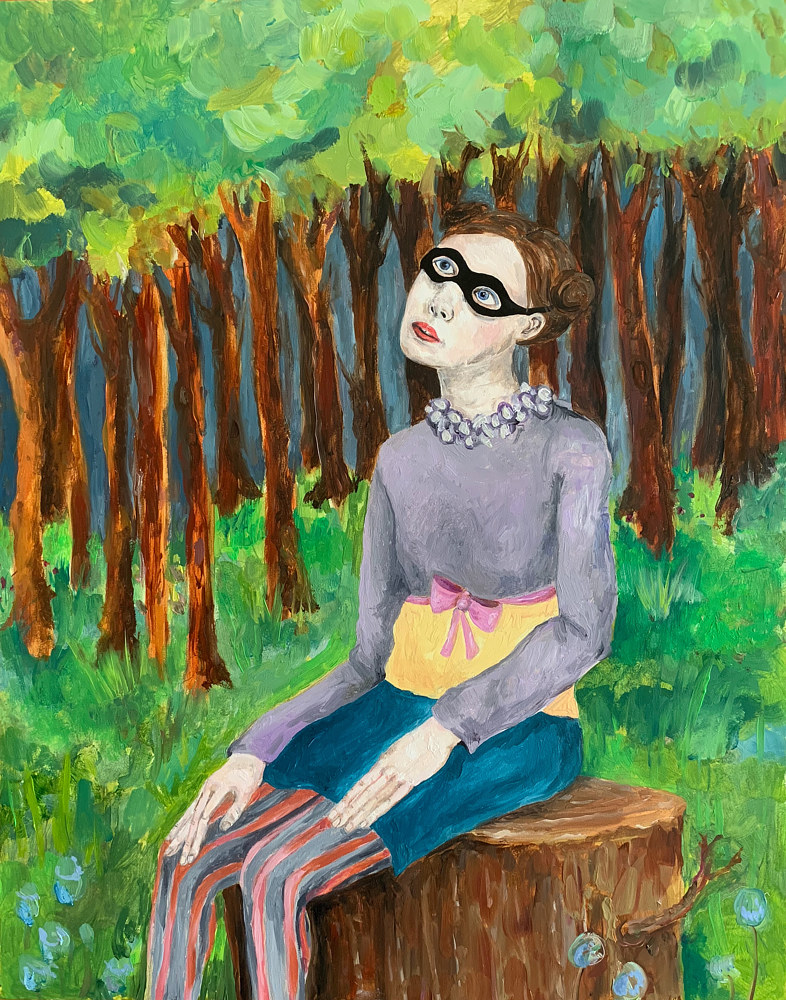 Oil painting A Girl Watching the Moon by Katherine Bennett