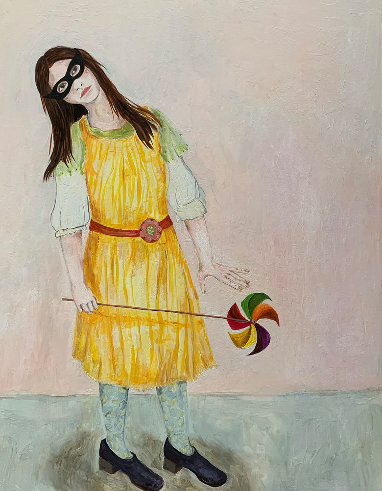 Oil painting A Girl with a Pinwheel by Katherine Bennett