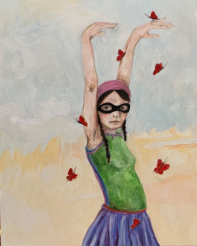 Oil painting A Girl with Butterflies by Katherine Bennett