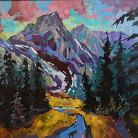 Mountain Essence  Acrylic 30x36 2018 by Brian  Buckrell