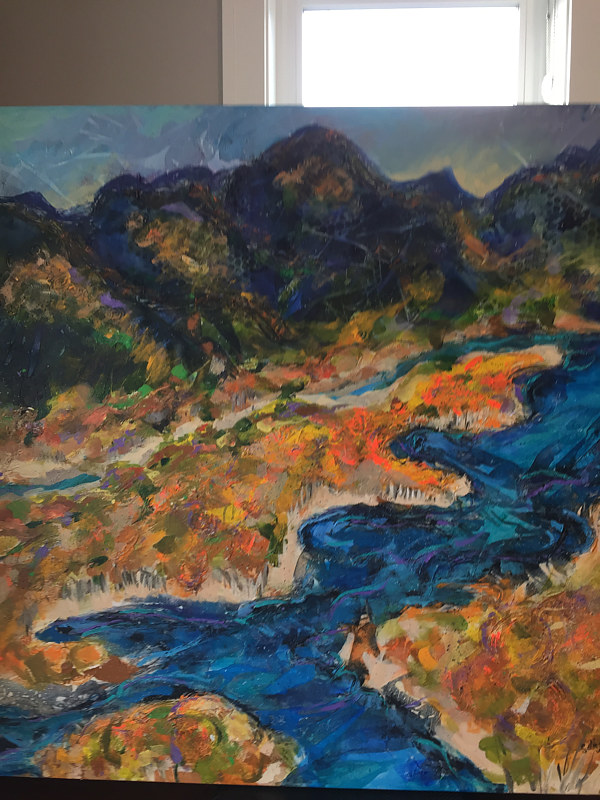 Acrylic painting River View by Kathie Selinger