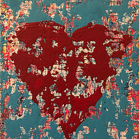 Acrylic painting untitled.heart.12x16 by Jeffrey Newman