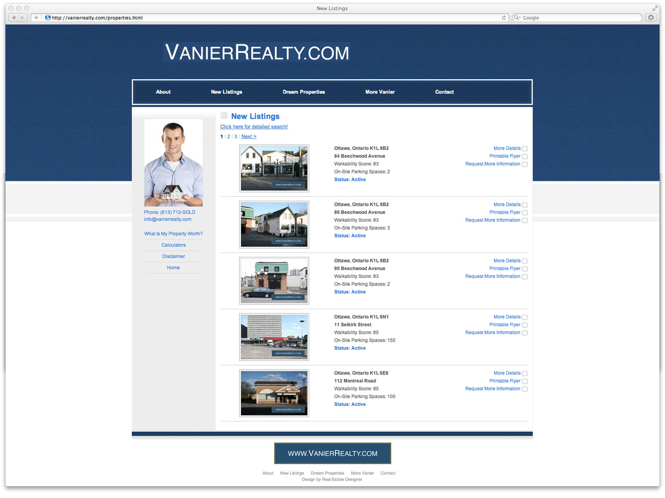Screenshot of listings page by Mike Steinhauer