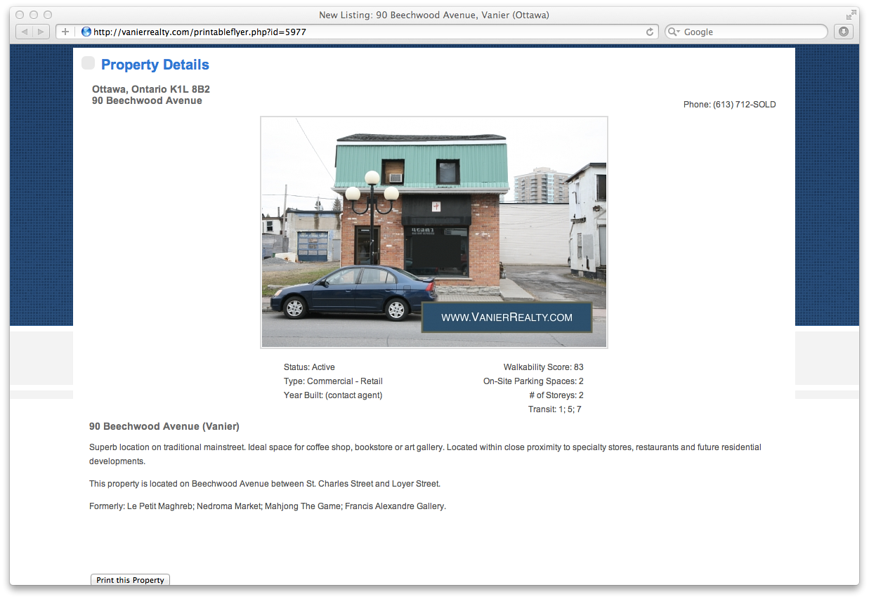 Screenshot of property page for 90 Beechwood Avenue  by Mike Steinhauer