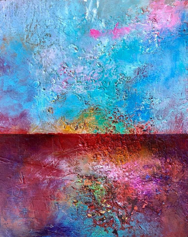 "Mixed-media artwork ""Majestic Horizon"" by Mike Salcido"