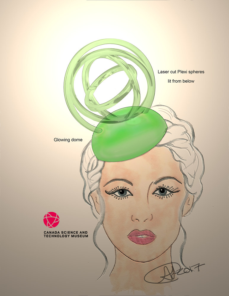 Concept sketch for fascinator 3 by Angela Dale