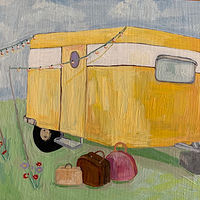 Oil painting rosie's camper by Katherine Bennett