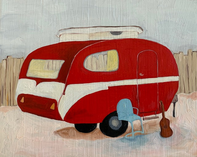 Oil painting emerson's motor home by Katherine Bennett