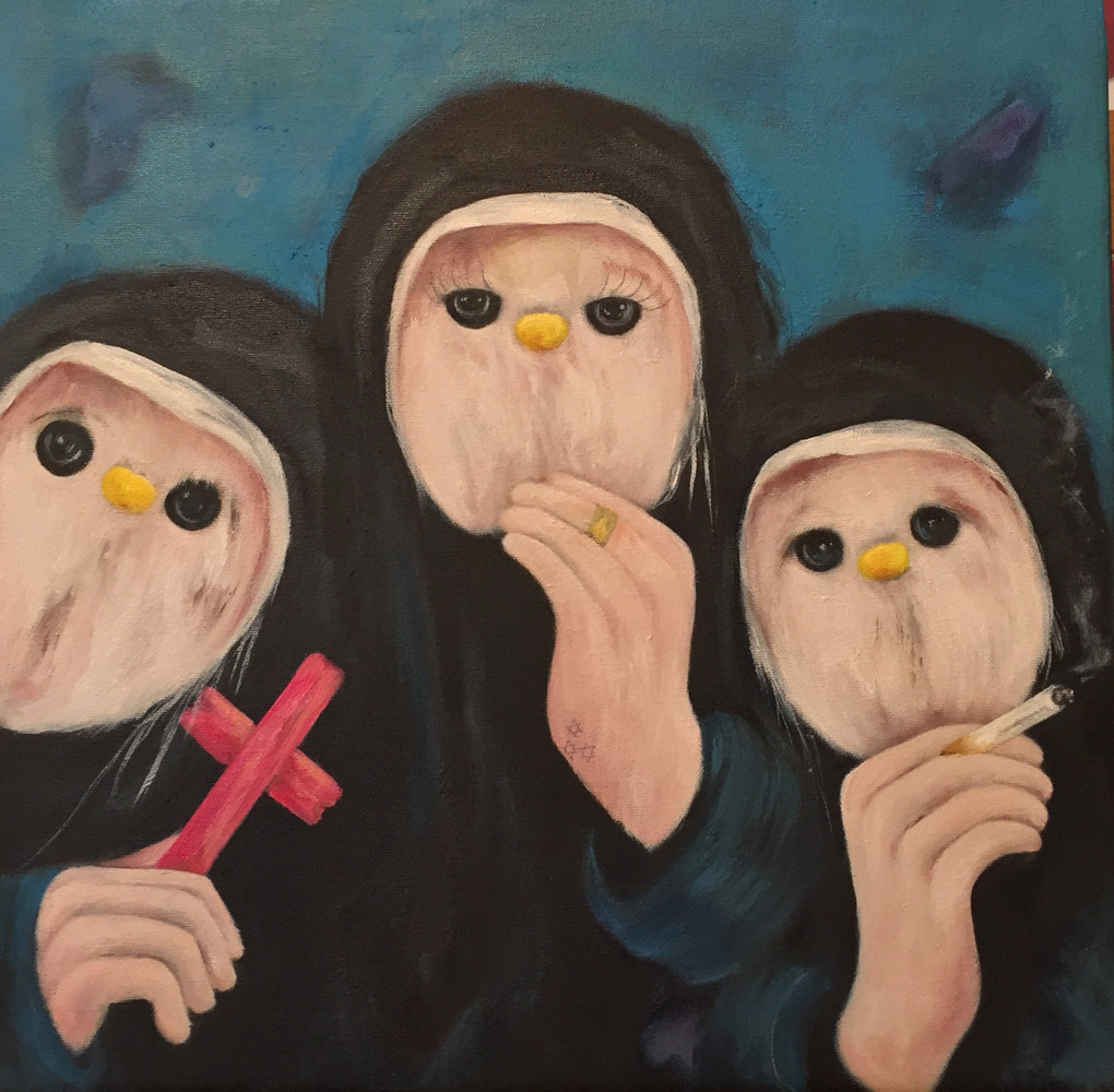 Oil painting What Happens in the Pews Stays in the Pews by Jeannie Polisuk
