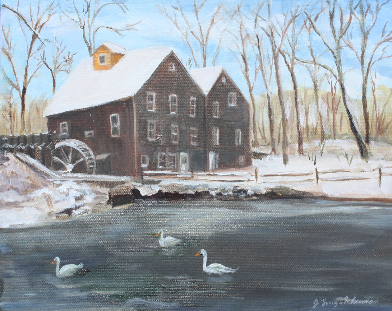 Oil painting Stony Brook Grist Mill by June Long-schuman