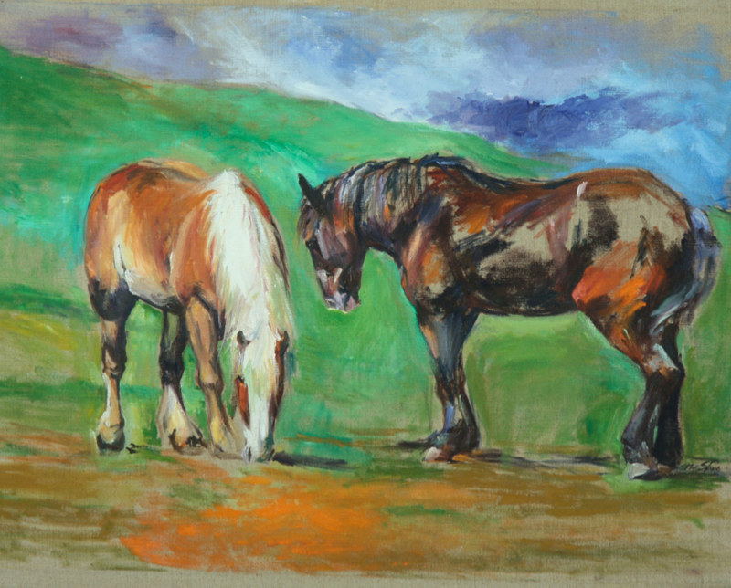 Oil painting draft horses  by Madeline Shea