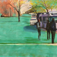 Oil painting bus stop  by Madeline Shea