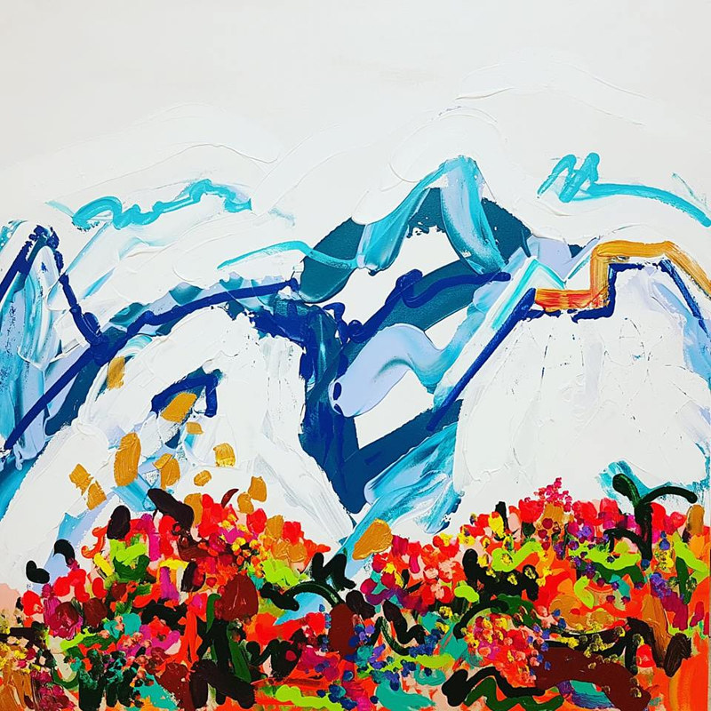 Glaciers au printemps, acrylicon canvas, 30'' x 30 '',2017_Karine_Molloy by Karine Molloy