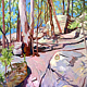 Oil painting Rabbit Rocks  by Jodi Jansons