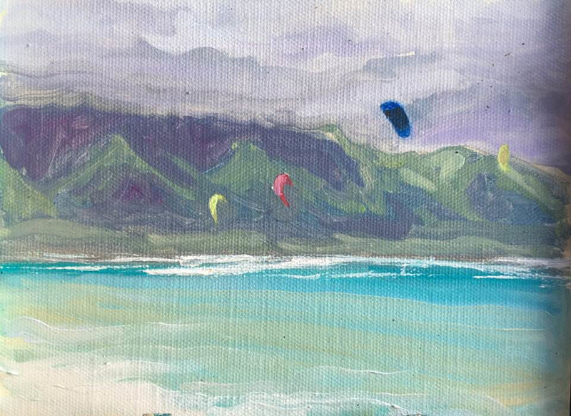 Oil painting Kites at Kanaha  by Pamela Neswald