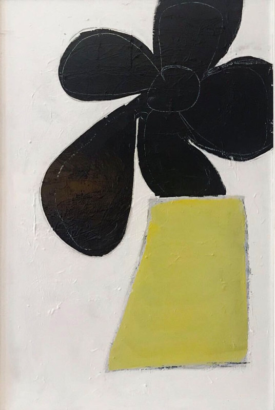 Acrylic painting Abstract Bloom: Black and Chartreuse by Sarah Trundle