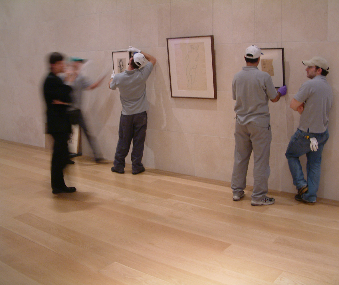 Curator and technicians. Nasher Sculpture Center. Dallas, TX, USA. (2007) by Mike Steinhauer