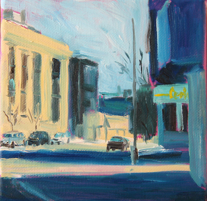 Oil painting lincoln, belmont and ashland by Madeline Shea