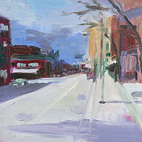 Oil painting clark street sunday morning by Madeline Shea
