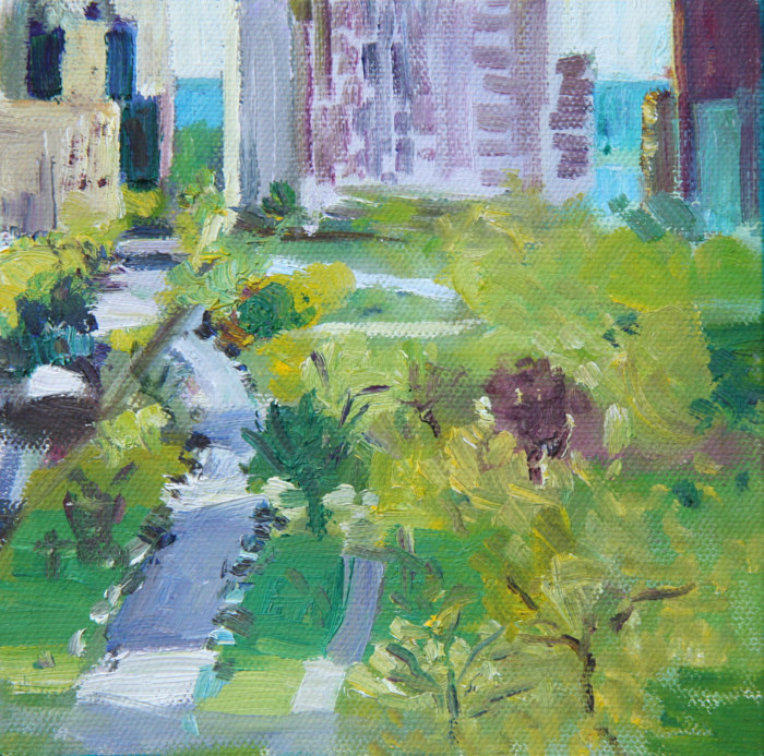 Oil painting lakeview and diversey by Madeline Shea