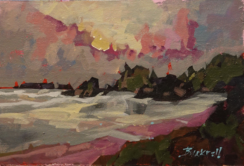 Storm Over Cox Bay   Acrylic 8x12 2018 Plein air sketch  by Brian  Buckrell