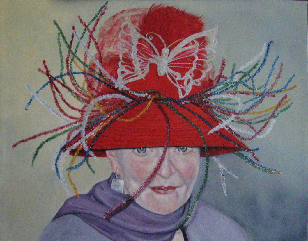 Oil painting Pat's Hat by Judith  Elsasser