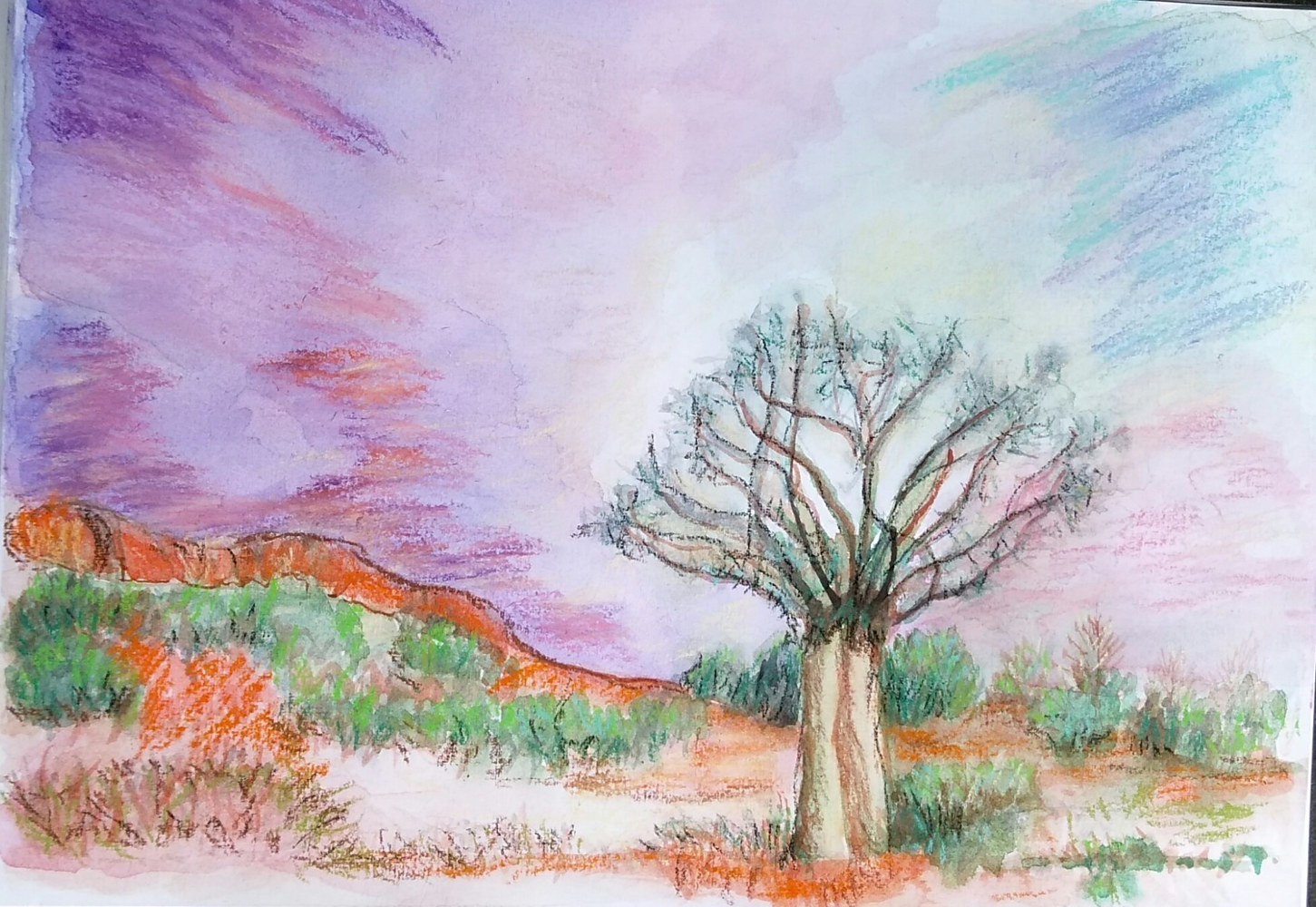 Watercolor Brilliance in the outback by Gwenda Branjerdporn