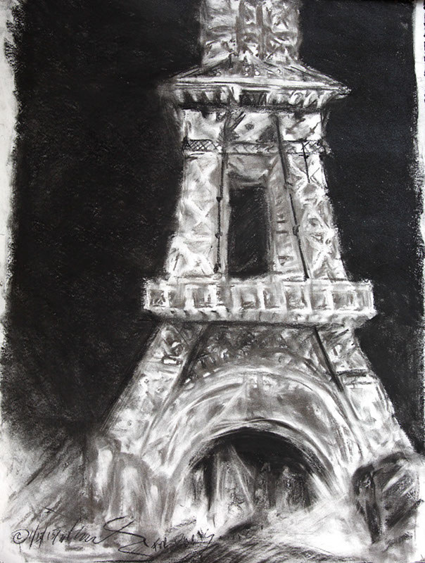 (c) Lully Schwartz Paris Charcoal on Rives  by Lully Schwartz