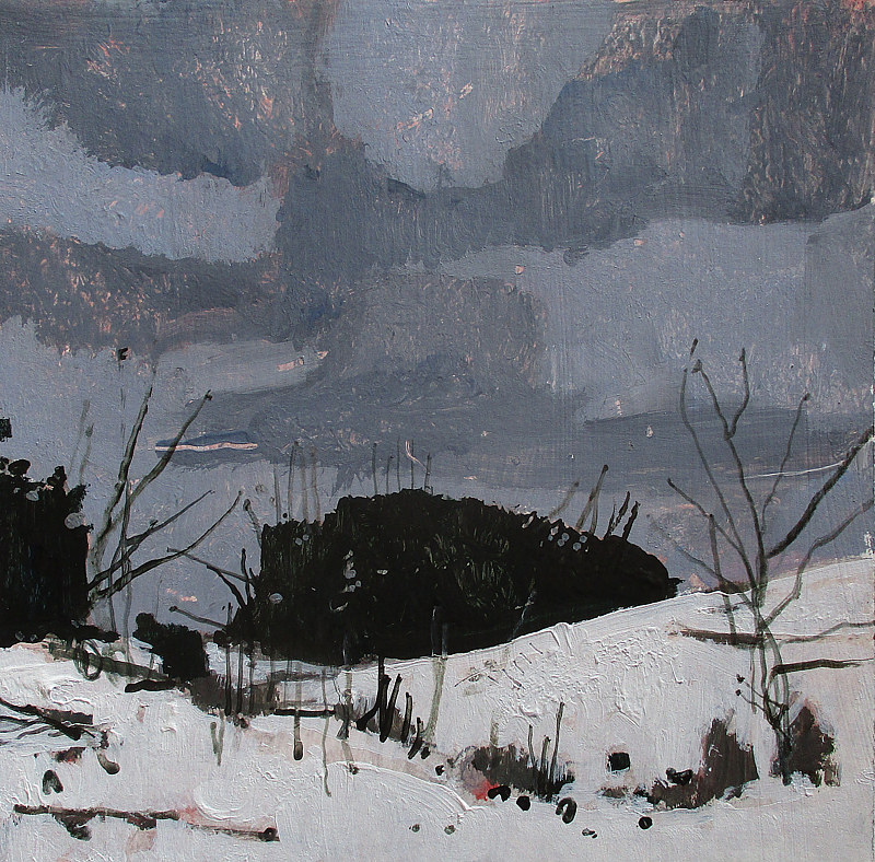 Acrylic painting New Year Snow by Harry Stooshinoff