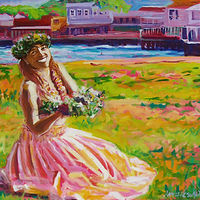 Lei Offering 36x36 deep edge giclee by Pamela Neswald