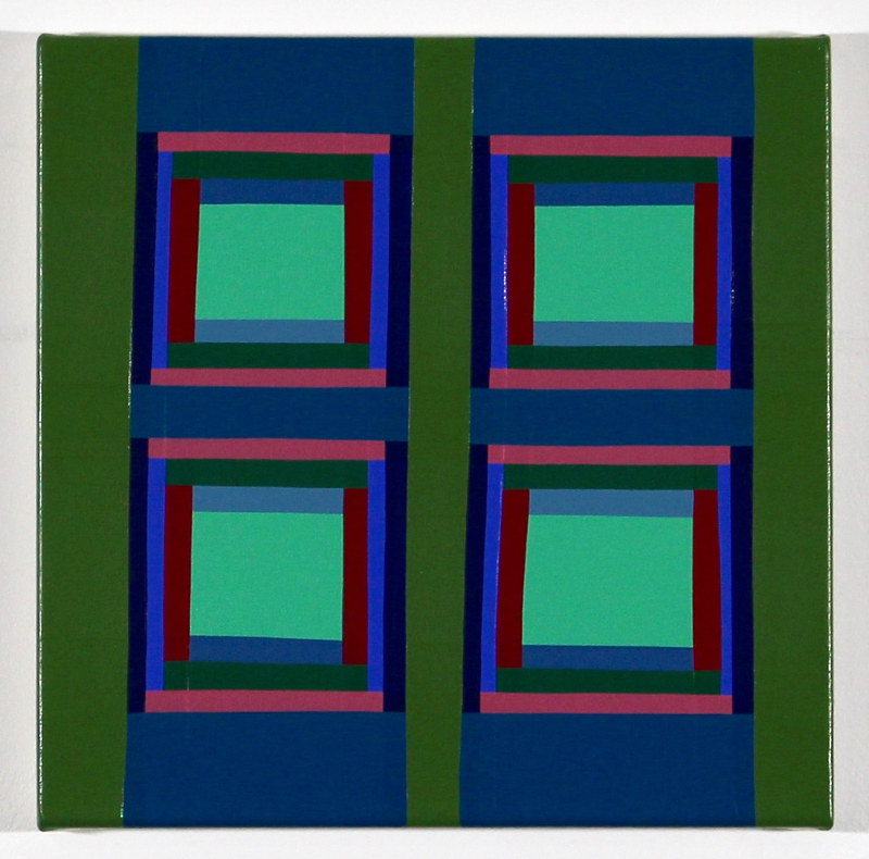 "Oil painting ""Additive Grid with Inner Green"" 2017 by Christann Kennedy"