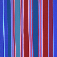 "Oil painting ""Standing Stripes with Red and Blue"" 2018 by Christann Kennedy"