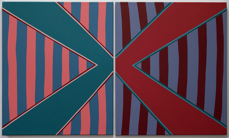 "Oil painting ""Stripe Set Diptych (Variant 4)"" 2014 by Christann Kennedy"