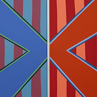 "Oil painting ""Stripe Set Diptych (Variant 3)"" 2014 by Christann Kennedy"
