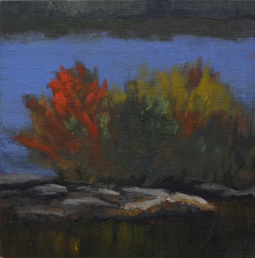 Burst of Red on the Rideau - 6 x 6, oil on cradled wood panel 24-18 by Patricia Savoie