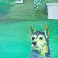 Oil painting Green Dog Squirrel! by Cody Blomberg