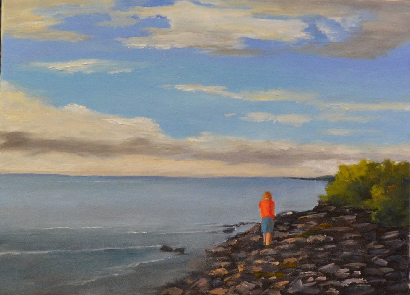 The Rock Beach - 12 x 16, oil on canvas - 15-0218 by Patricia Savoie