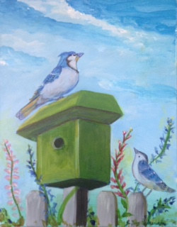 Acrylic painting Bluebirds by June Long-schuman