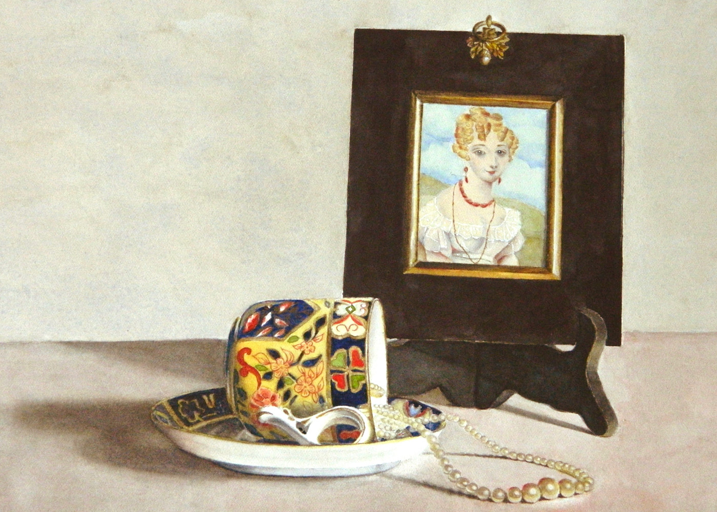 Watercolor The Lady and The Teacup by Jane Crosby