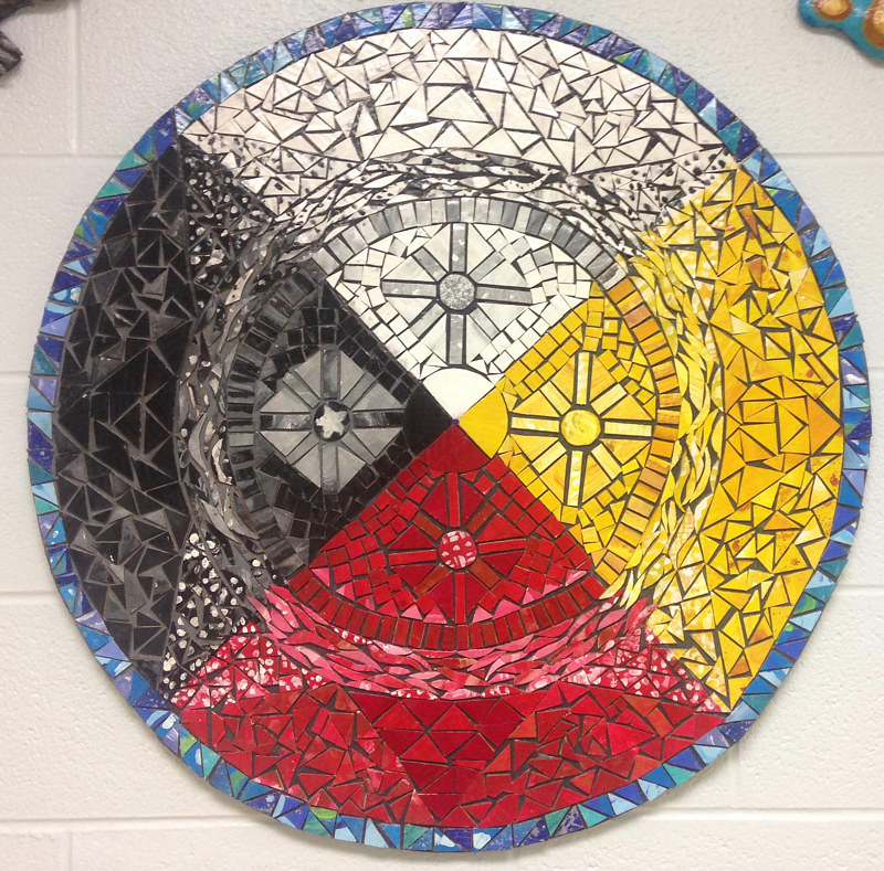 Medicine Wheel Mosaic -close up 2 by Pamela Schuller