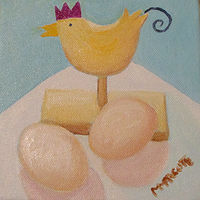 Oil painting Chicken and Eggs  by Michelle Marcotte