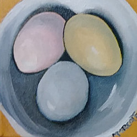 Painting Three egg paintings of three eggs  by Michelle Marcotte
