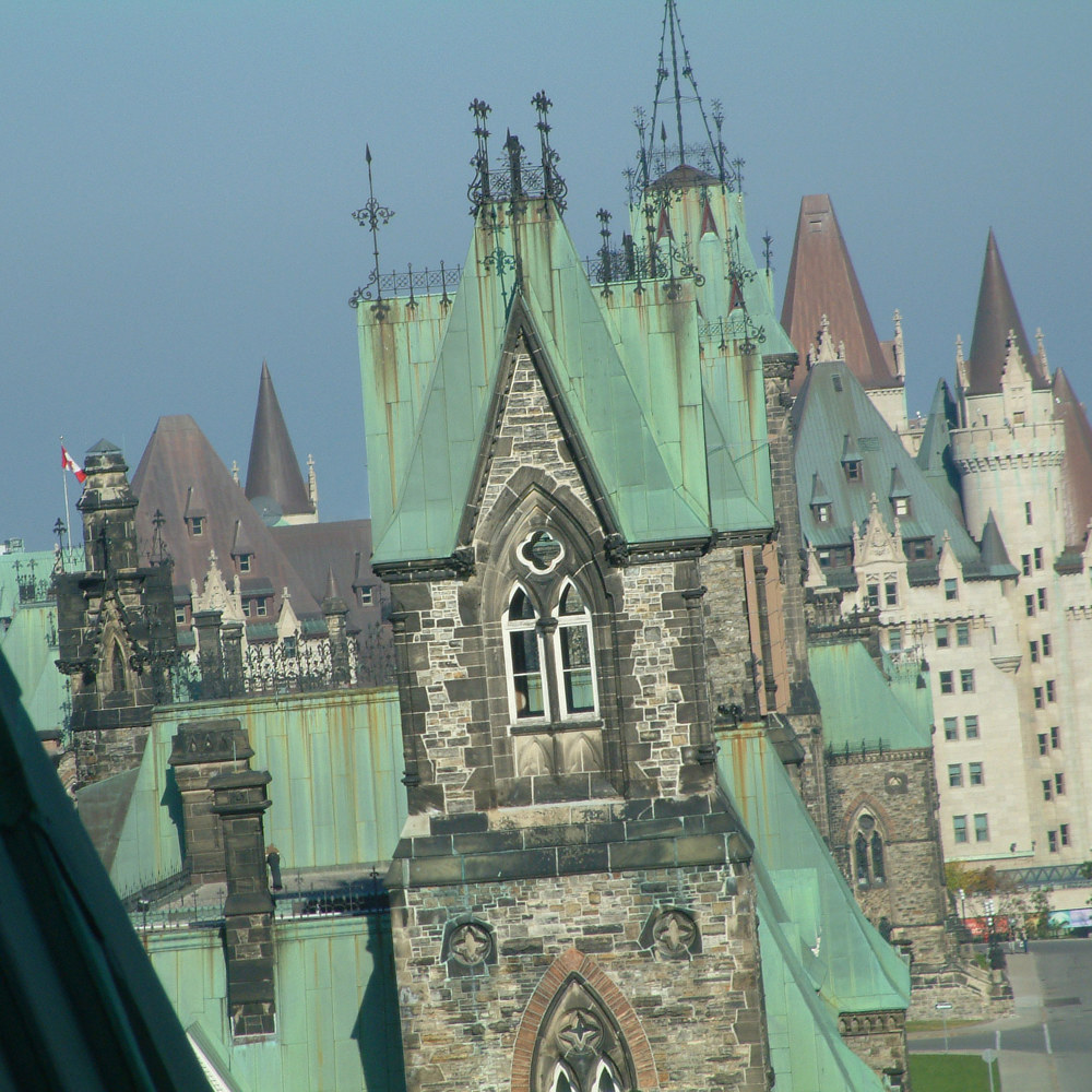 View of West Block, East Block and the Château Laurier hotel by Mike Steinhauer