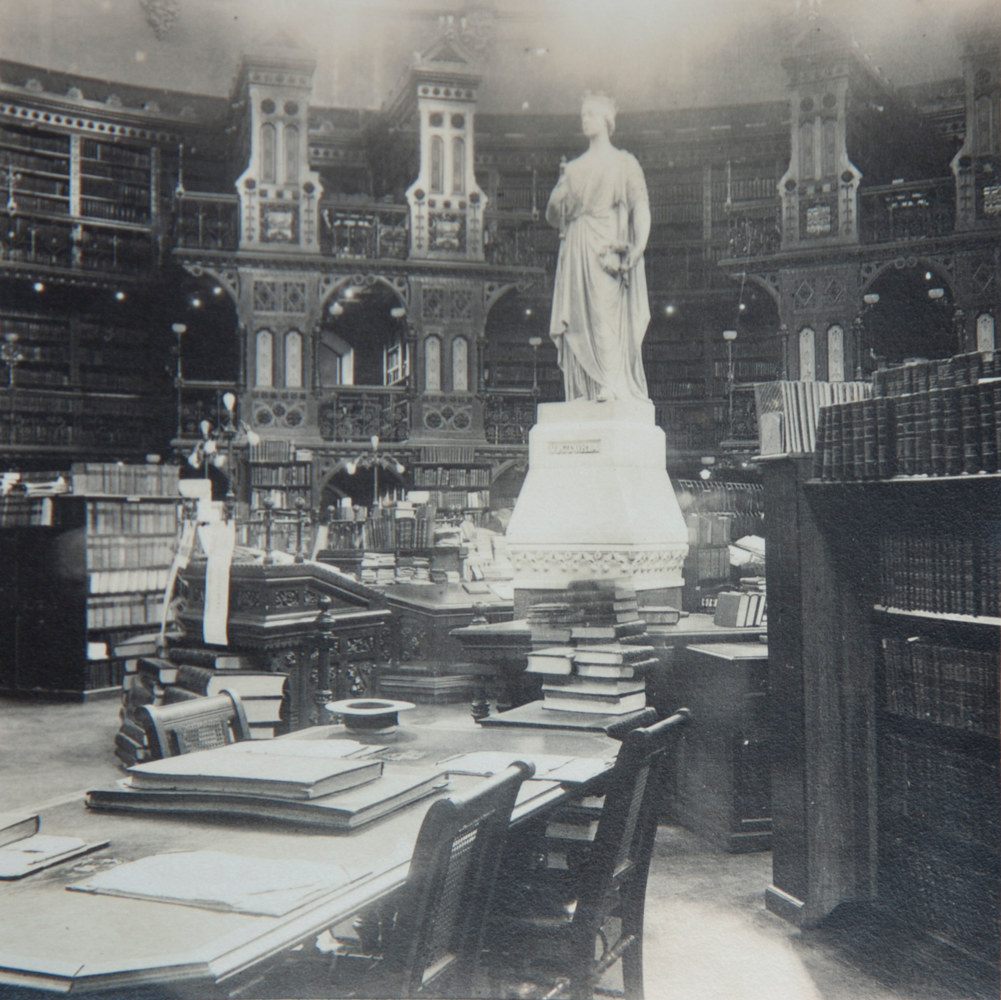 Historical photograph of the interior of the Library (n.d.) by Mike Steinhauer