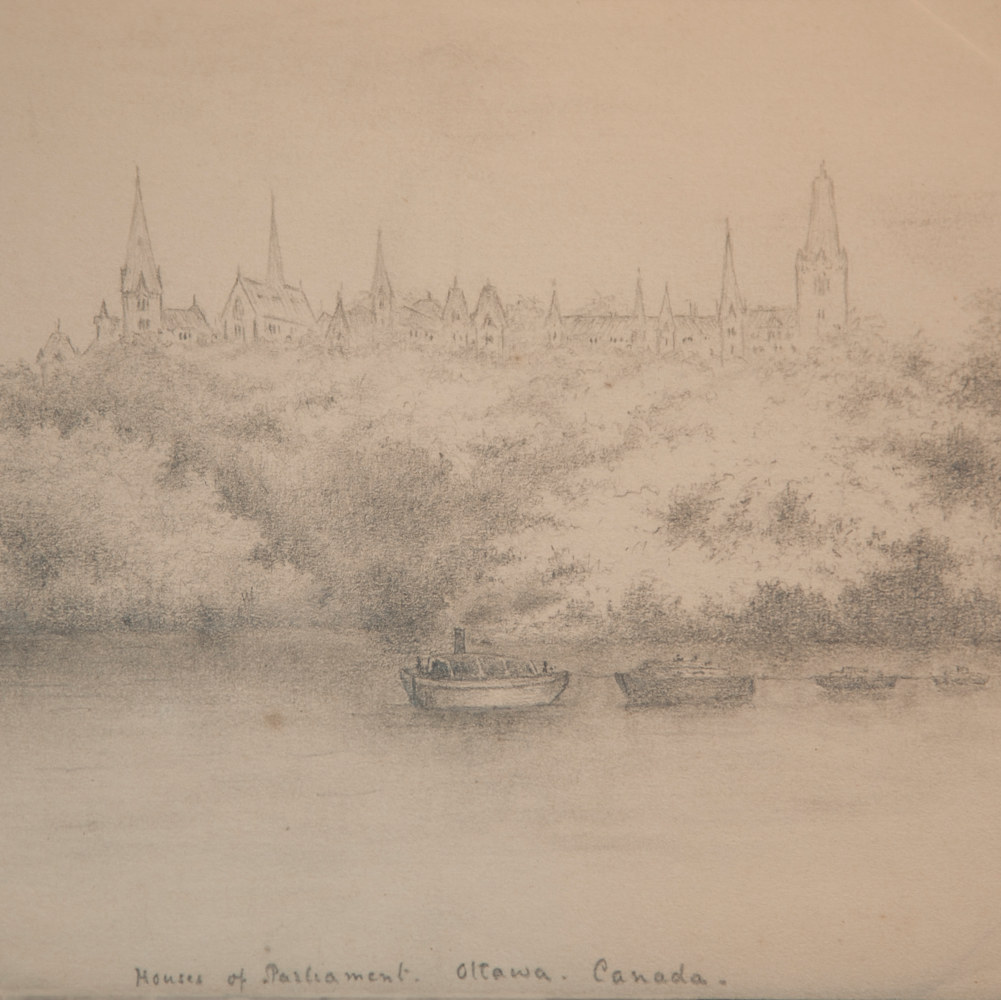 Parliament under construction: drawing by Edward Morrison de Courcy Short, 1880s by Mike Steinhauer
