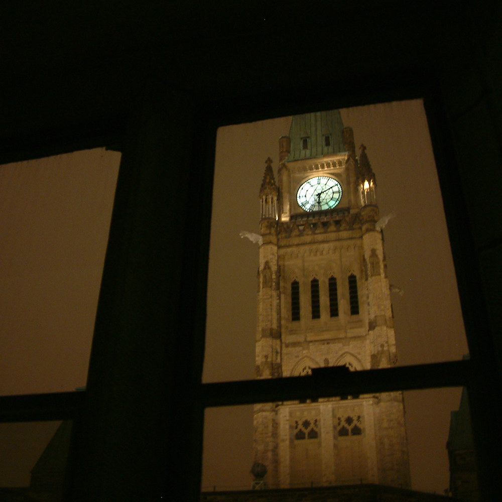 View of the Peace Tower as seen from inner courtyard by Mike Steinhauer