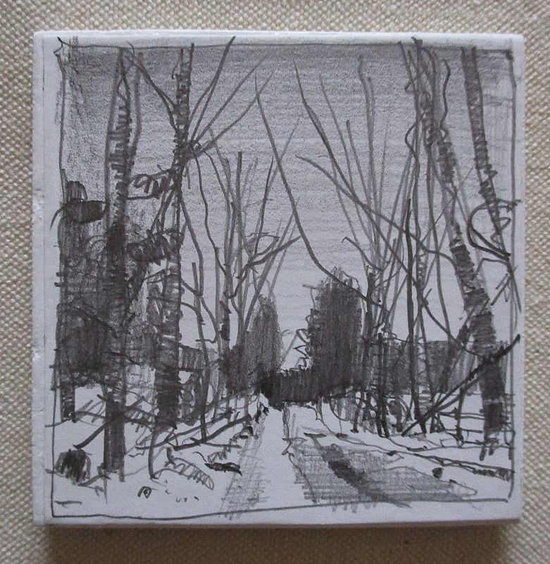 Drawing Snow Road by Harry Stooshinoff